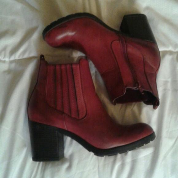 b7ea179a013 Boohoo Shoes | Burgundy Chunky Heel Ankle Boots | Poshmark